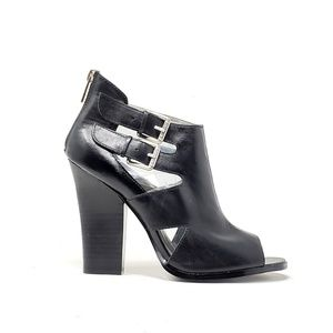 Guess Black Leather Buckle Strap Ankle Boots